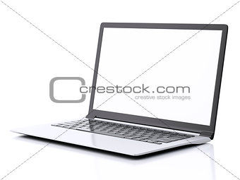 Modern Laptop with white screen. 3d illustration