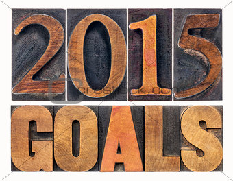 2015 goals in letterpress wood type