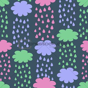 Cartoon Seamless Pattern with Rainy Clouds