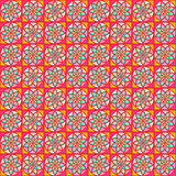 Orange Geometric Seamless Pattern with Stylized Flowers