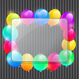 Sheet of Glass Framework with Colorful Party Balloons