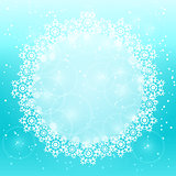White Round Copy Space with Snowflake Decoration