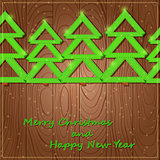 Christmas Wood Card with Trees