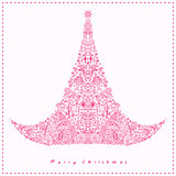 Pink Detailed Swirl Drawn Christmas Tree