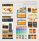 One page website flat UI UXdesign template.