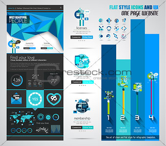 One page website flat UI design template.
