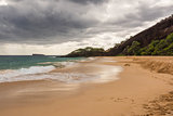 The beach in Maui in a cloudy day