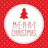 Vector Christmas card with tree, wishes and polka dots