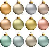 Vector Christmas Balls Pastel Metallic Colors