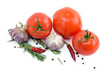 Several vegetables isolated on a white background