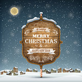 Evening Landscape With Christmas Wooden Greeting Signboard
