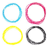 Set of CMYK circle spots of pastel crayon, isolated on white background
