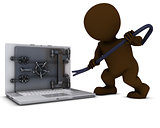 3D Morph Man breaking into a laptop