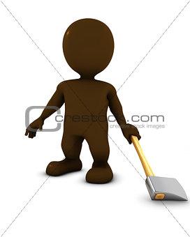 3D Morph Man swinging an axe