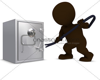 3D Morph Man breaking into a safe