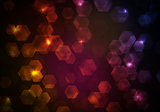 Glow multicolor hexagons on dark background