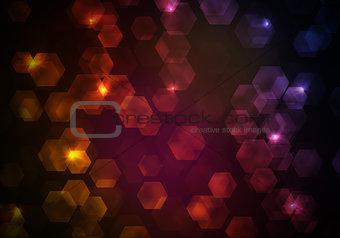 Glow multicolor hexagons on dark background