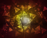 Glow multicolor triangles on dark background