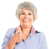 Elderly woman with thumbs up