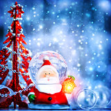 Cute snow globe Santa