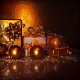 Golden present boxes