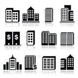 Office buildings, business center icons set