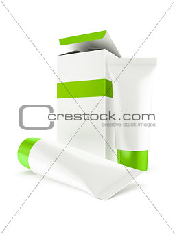 box and two tubes with cosmetics