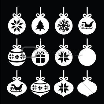 Christmas ball, Christmas bauble white icons on black