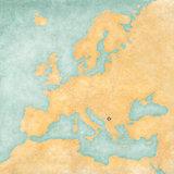 Map of Europe - Kosovo (Vintage Series)