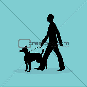 Blind man silhouette image