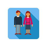 Couple on a blue background, flat style