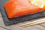 Fresh salmon fish with lemon