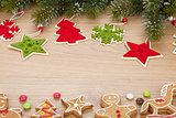 Christmas fir tree, cookies and decor