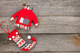 Christmas soft decor on wooden background