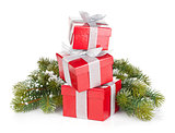 Three christmas gift boxes