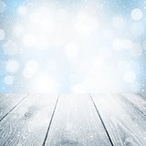 Christmas winter background with wooden table