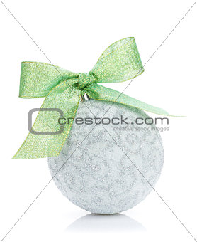 Christmas bauble with green ribbon