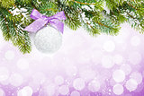 Christmas colorful decor and snow fir tree