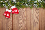 Christmas mitten decor and snow fir tree