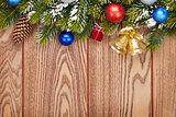 Christmas decor and snow fir tree