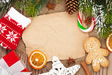 Christmas food and decor with snow fir tree background