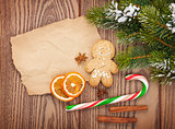 Christmas food and decor with snow fir tree