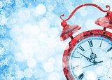 Christmas background with clock and snow bokeh