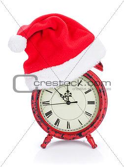 Christmas clock with santa hat