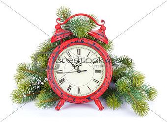 Christmas clock and snow fir tree