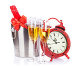 Champagne and christmas clock
