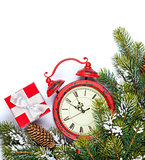 Christmas background with clock and snow fir tree