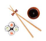 Sushi set, chopsticks and soy sauce