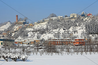 Small town covered with snow.