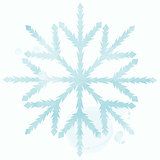 Blue watercolor snowflake